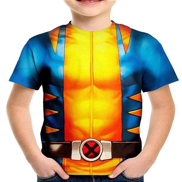 Camiseta Infantil Wolverine Traje Volverine Armadura