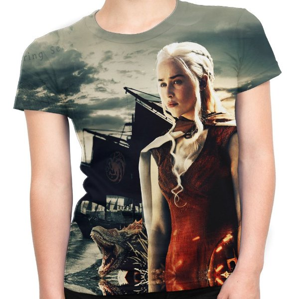 Camiseta Baby Look Feminina Game Of Thrones Daenerys Md05 - OUTLET