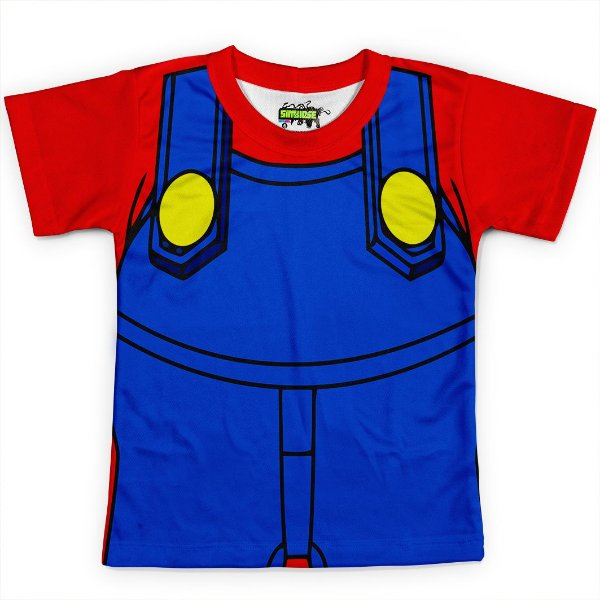 Camiseta Infantil Traje Mario Super Mario Bros