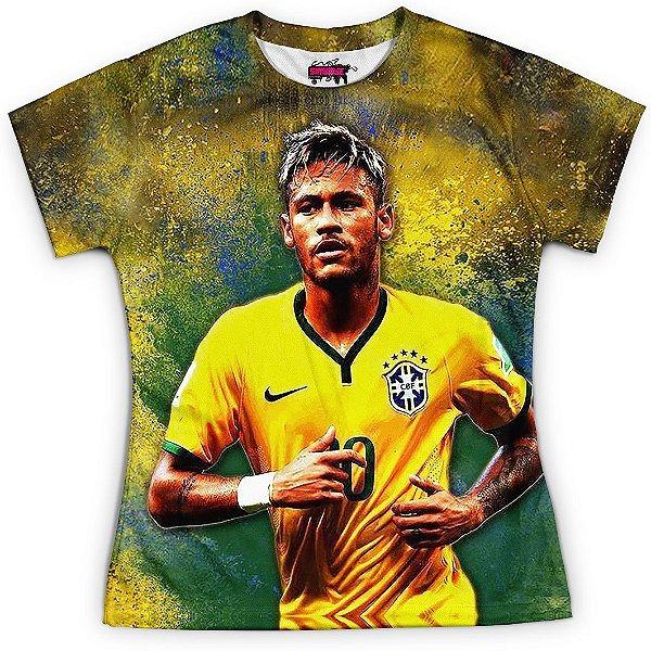 Camiseta Baby Look Feminina Neymar Brasil Copa Md02