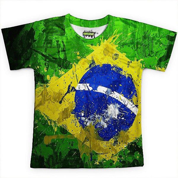 Camiseta Infantil Brasil Bandeira Copa Md01