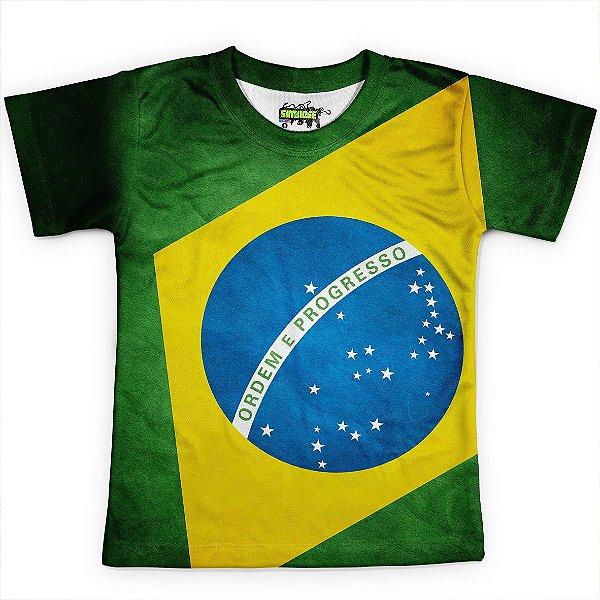 Camiseta Infantil Brasil Bandeira Copa Md03