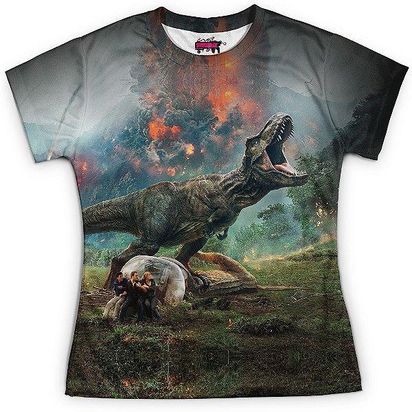 Baby look Feminina Parque dos Dinossauros Estampa Total Md03