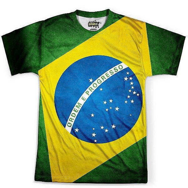 Camiseta Masculina Brasil Bandeira Copa Md03 - OUTLET