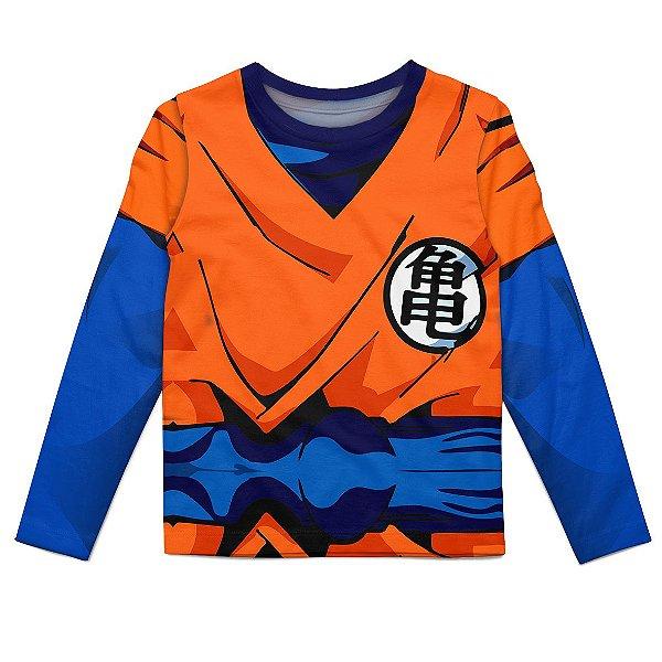 Camiseta Infantil Manga longa Goku Dragon Ball