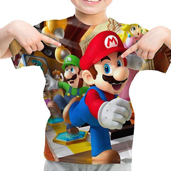 Camiseta Infantil Mario Bros Estampa Total Md01 - OUTLET