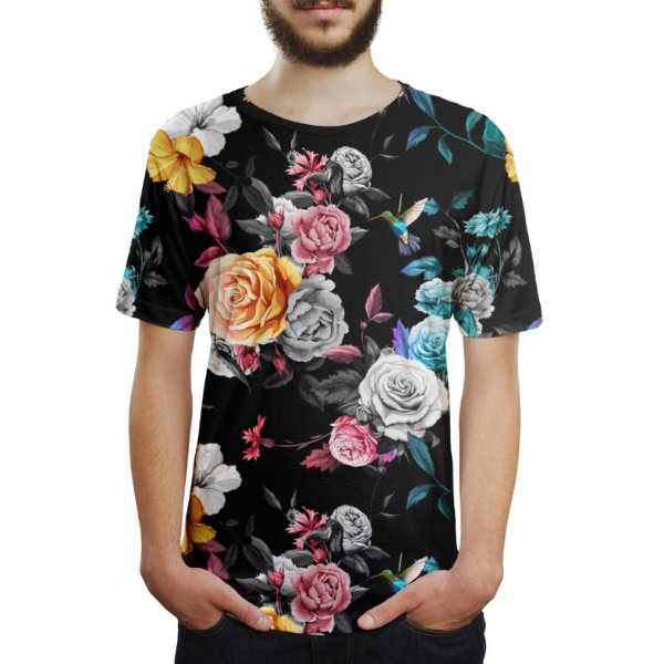 Camiseta Masculina Floral Jardim E Beija-flor Estampa Digital