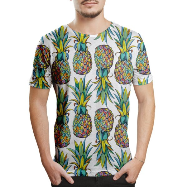 Camiseta Masculina Abacaxis Estampa Digital