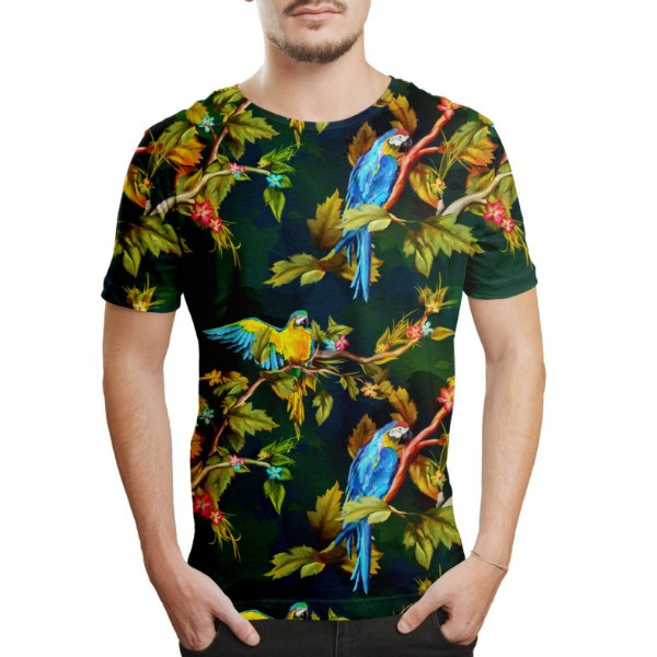 Camiseta Masculina Araras Estampa Digital