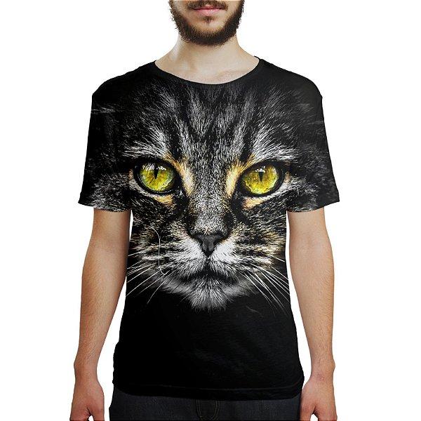 Camiseta Masculina Big Face Gato Cinza Estampa Digital