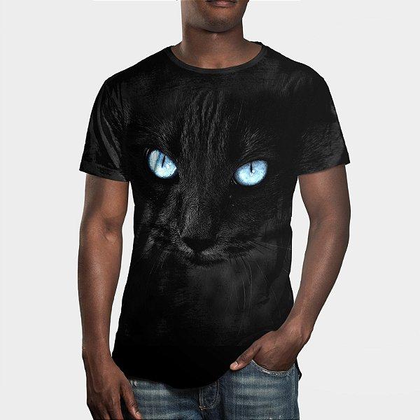 Camiseta Masculina Big Face Gato Negro Estampa Digital