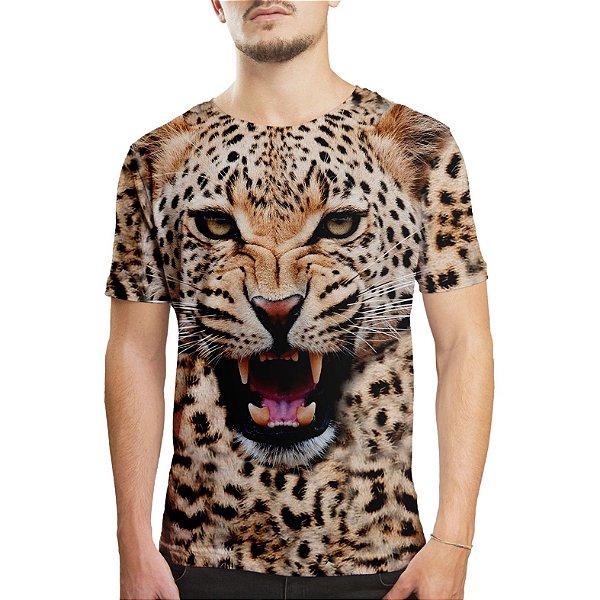 Camiseta Masculina Big Face Onça Estampa Digital