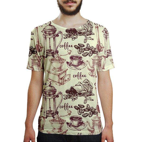 Camiseta Masculina Café Estampa Digital