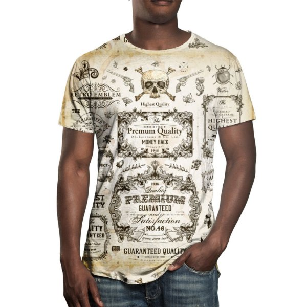 Camiseta Masculina Caligrafia Old School Estampa Digital