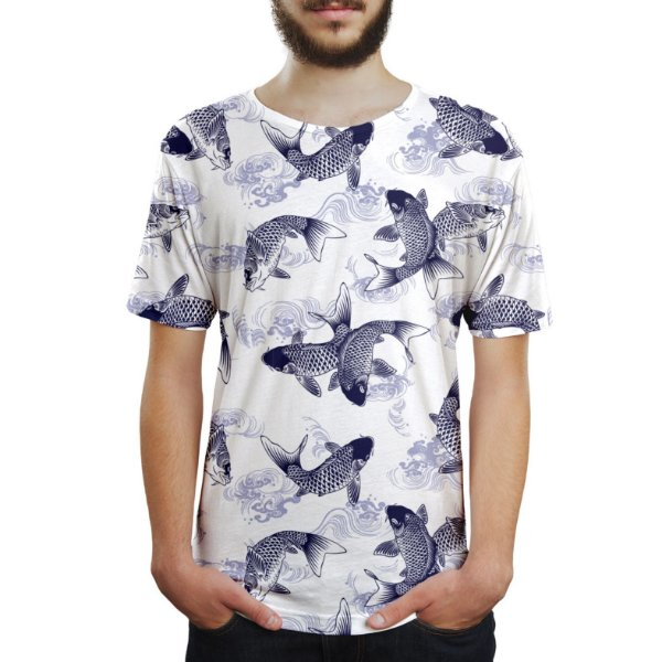 Camiseta Masculina Carpas Japonesas Estampa Digital