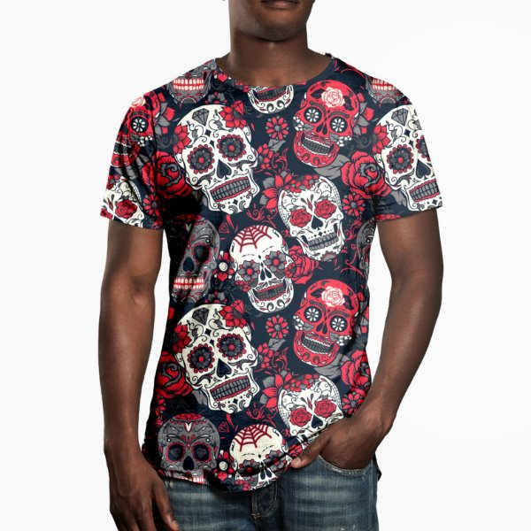 Camiseta Masculina Caveira Mexicana Estampa Digital