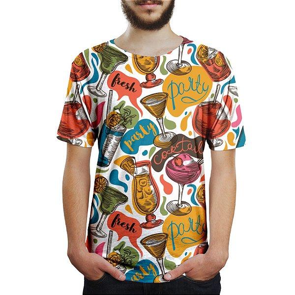 Camiseta Masculina Drinks e Cocktail Estampa Digital