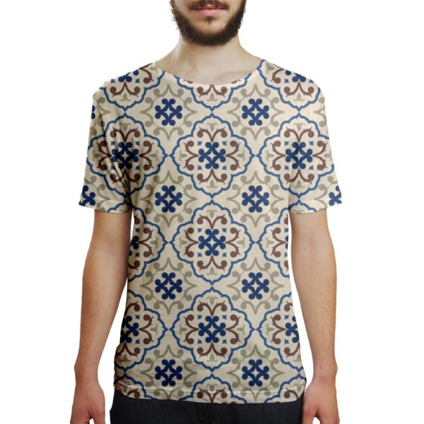 Camiseta Masculina Azulejos Estampa Digital