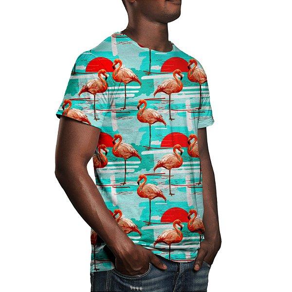 Camiseta Masculina Flamingos Estampa Digital