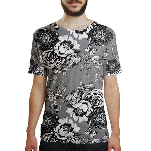 Camiseta Masculina Flor da Ameixeira Cinza Estampa Digital