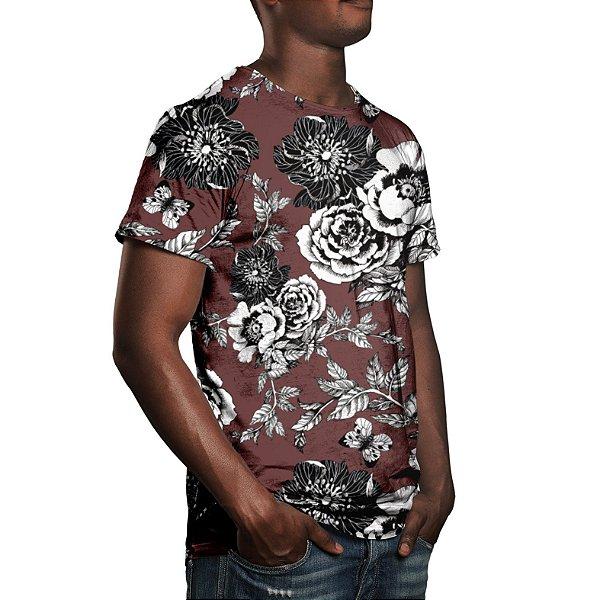 Camiseta Masculina Flor da Ameixeira Marrom Estampa Digital