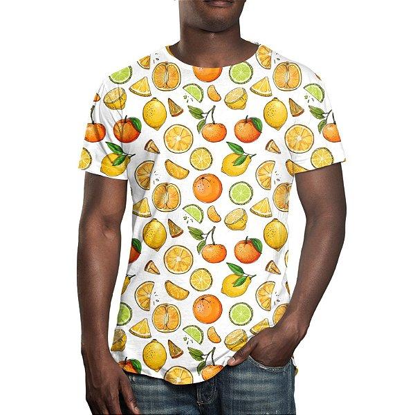 Camiseta Masculina Frutas Cítricas Estampa Digital