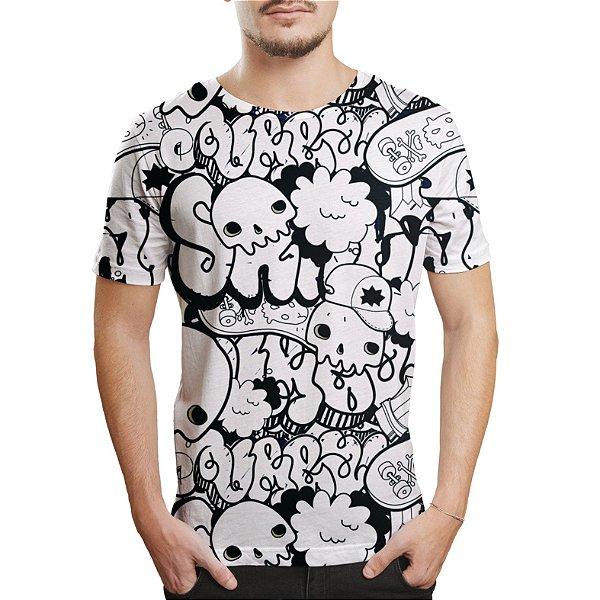 Camiseta Masculina Grafite Caveiras Estampa Digital