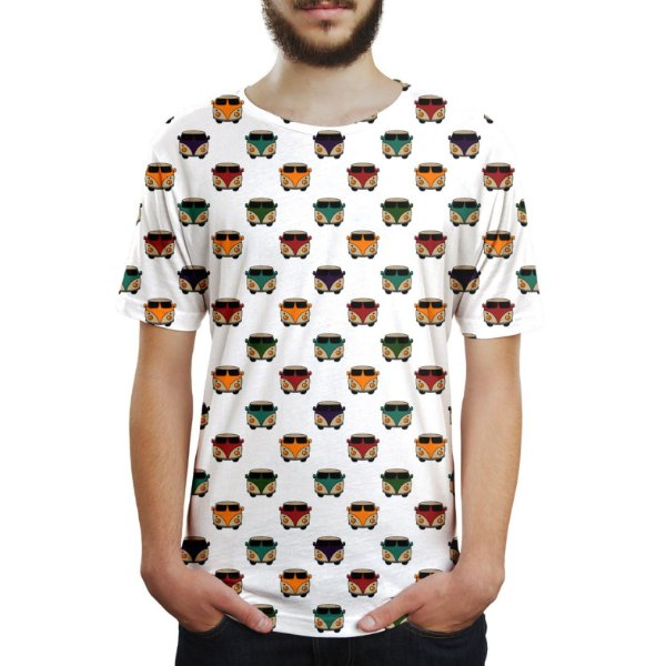 Camiseta Masculina Kombis Estampa Digital