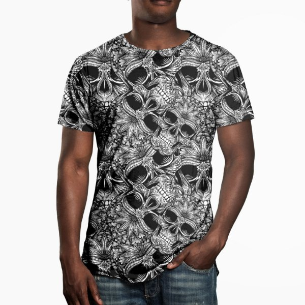 Camiseta Masculina Caveiras Estampa Digital