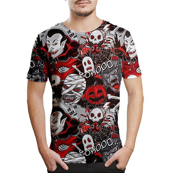 Camiseta Masculina Monstros do Horror Estampa Digital