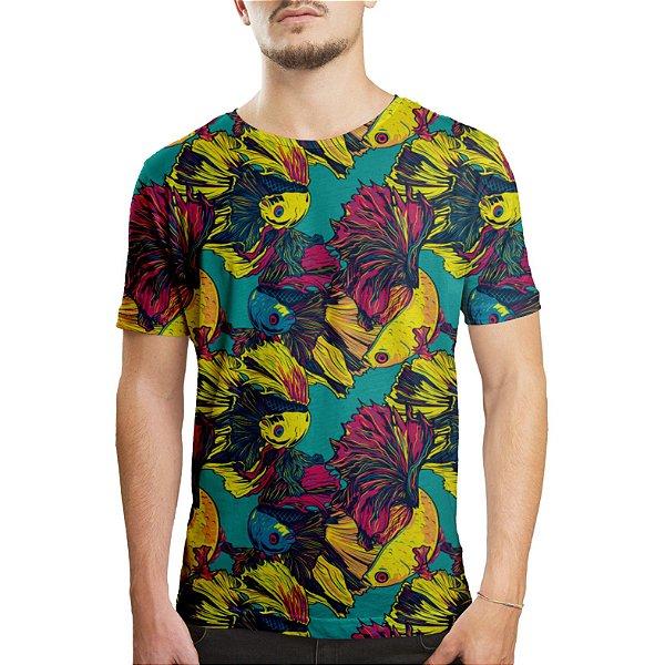 Camiseta Masculina Peixes Beta Estampa Digital