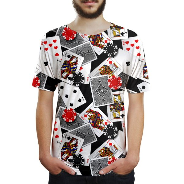 Camiseta Masculina Poker Baralho e Fichas Estampa Digital