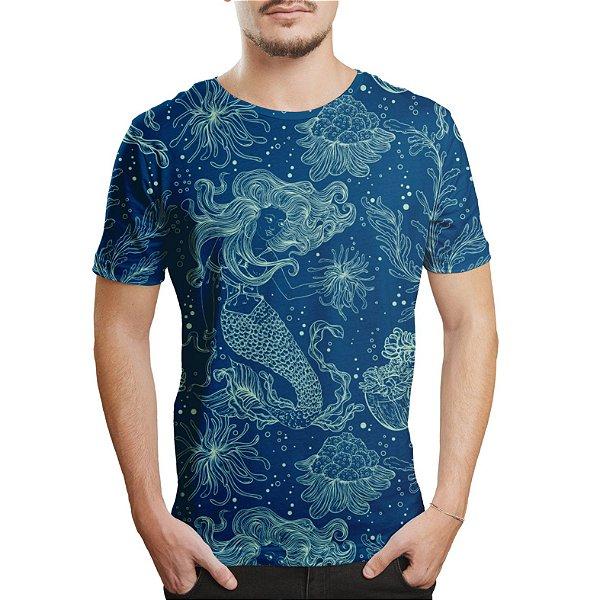 Camiseta Masculina Sereia e Plantas Marinhas Estampa Digital