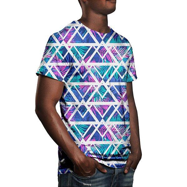 Camiseta Masculina Tecno Geométrico Estampa Digital