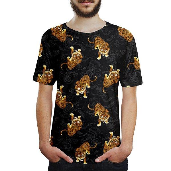 Camiseta Masculina Tigre Japonês Estampa Digital
