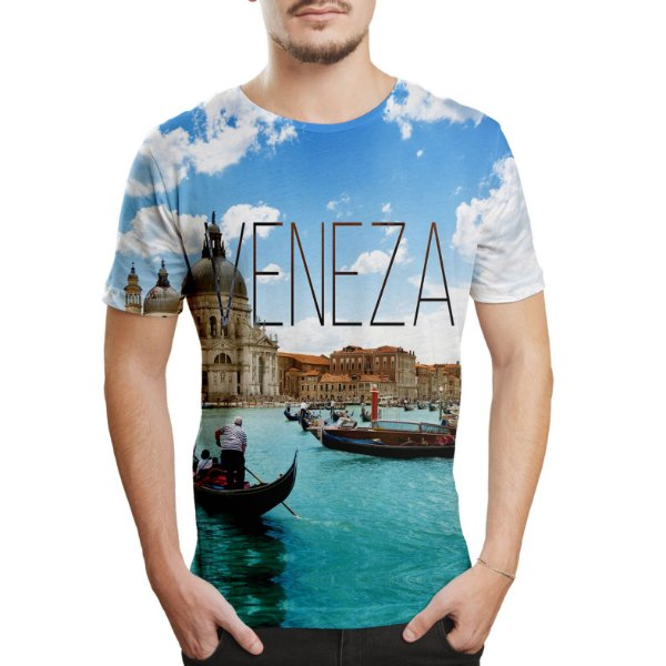 Camiseta Masculina Veneza Estampa Digital