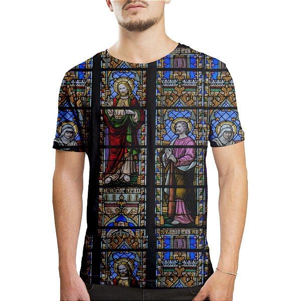 Camiseta Masculina Vitral Igreja Floral Estampa Digital