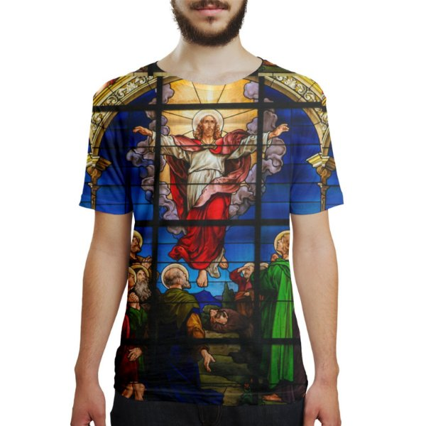 Camiseta Masculina Vitral Jesus Estampa Digital