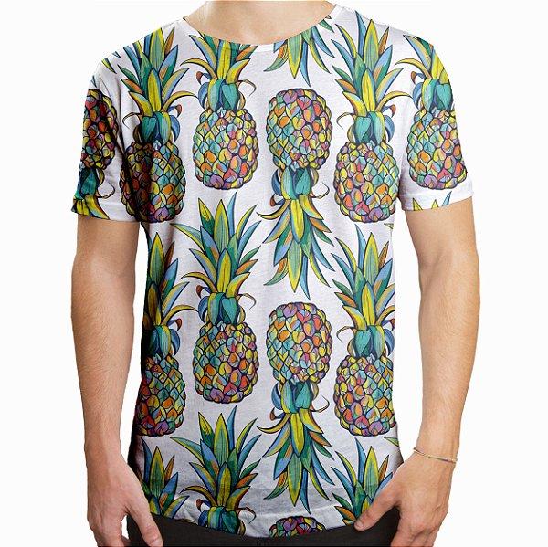 Camiseta Masculina Longline Swag Abacaxis Estampa Digital