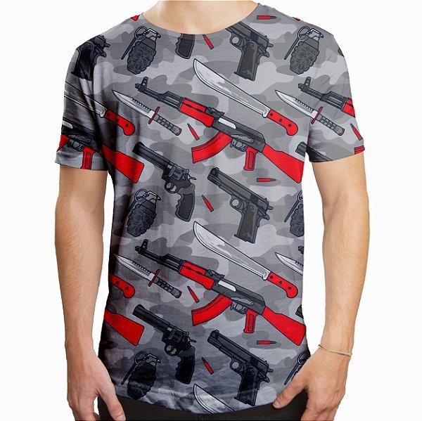 Camiseta Masculina Longline Swag Armas Estampa Digital
