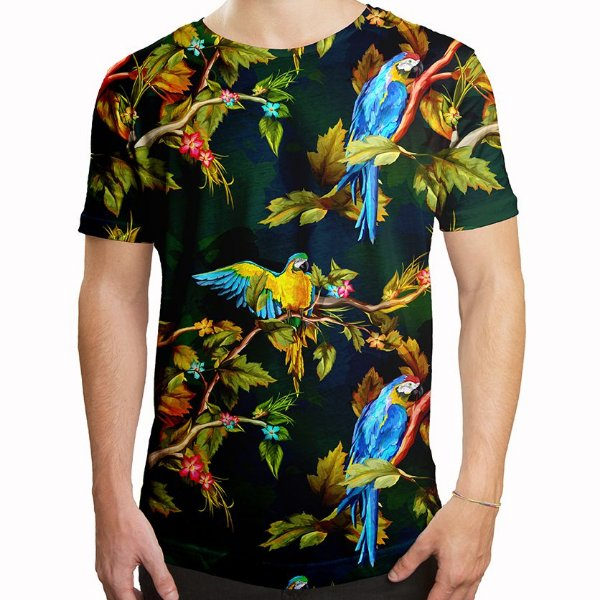 Camiseta Masculina Longline Swag Araras Estampa Digital