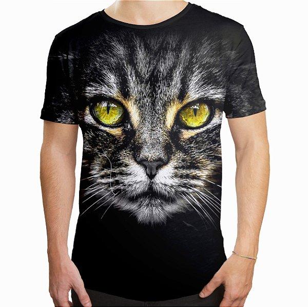 Camiseta Masculina Longline Swag Big Face Gato Cinza Estampa Digital