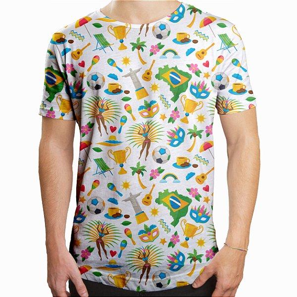 Camiseta Masculina Longline Swag Brasil Temas Brasileiros Estampa Digital