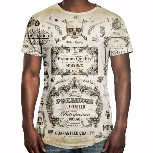 Camiseta Masculina Longline Swag Caligrafia Old School Estampa Digital