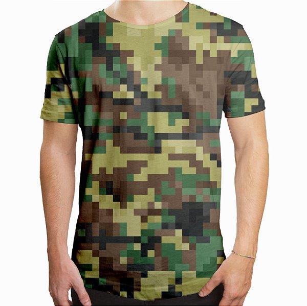 Camiseta Masculina Longline Swag Camuflado Pixels Estampa Digital
