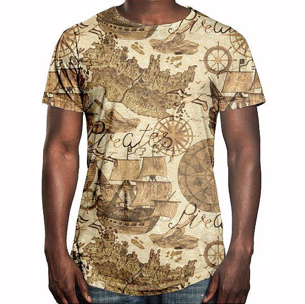 Camiseta Masculina Longline Swag Carta Geográfica Estampa Digital