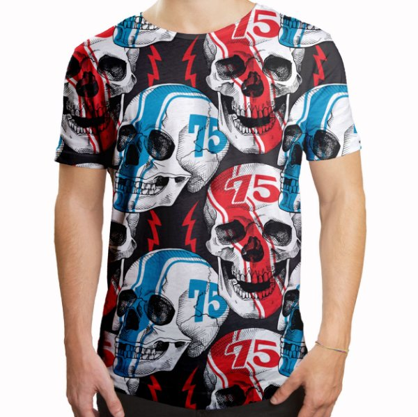 Camiseta Masculina Longline Swag Caveiras Racer Estampa Digital
