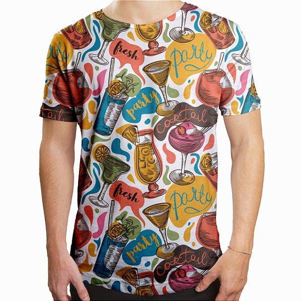 Camiseta Masculina Longline Swag Drinks e Cocktail Estampa Digital