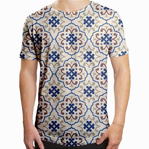 Camiseta Masculina Longline Swag Estampa de Azulejos Estampa Digital