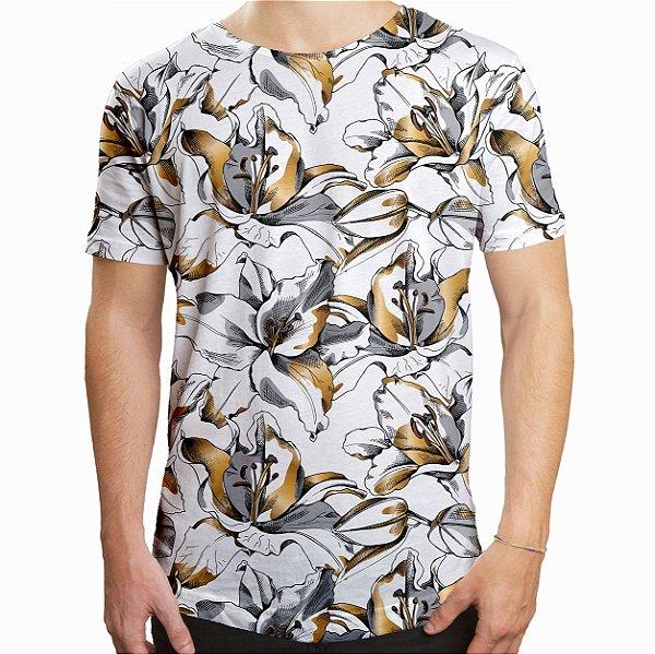 Camiseta Masculina Longline Swag Lírios Dourados Estampa Digital